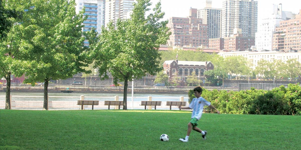 Four waterfront parks on Roosevelt Island